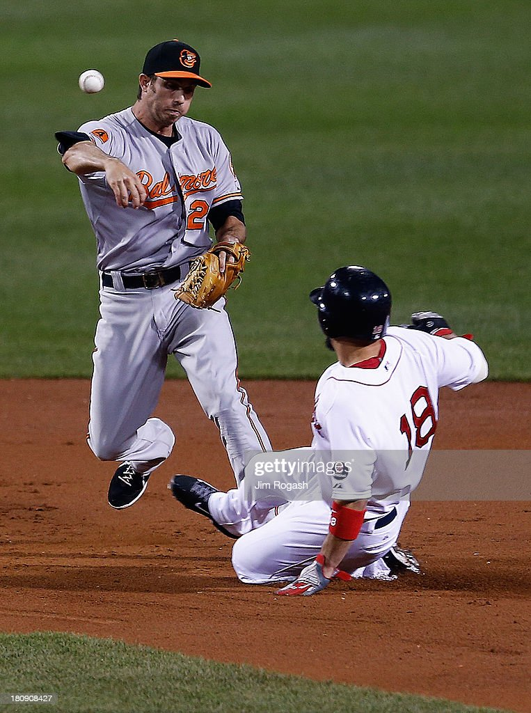 JJ Hardy #2 of the Baltimore Orioles turns a double plays as Shane Victorino #18 of the Boston Red Sox slides late in to second base in the 1st inning against the Baltimore Orioles at Fenway Park on September 17 in Boston, Massachusetts.