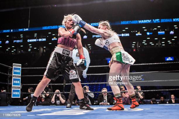 hardy throws a left at the Heather Hardy vs Edina Kiss Featherweigh fight in which Hardy won by Unanimous Decision at The Barclay's Center on March 4...