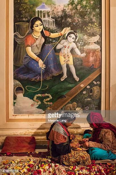 CONTENT] Hare Krishna devotees making flower garlands by a painting of baby Krishna inside the Sri Krishna Balaram temple of Vrindavan Uttar Pradesh...