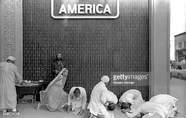 Hare Krishna group gathers around Telegraph Avenue on October 19 1969 in Berkeley California