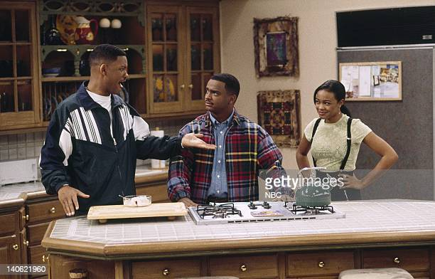 """Hare Today"""" Episode 18 -- Aired -- Pictured: Will Smith as William 'Will' Smith, Alfonso Ribeiro as Carlton Banks, Tatyana Ali as Ashley Banks --..."""