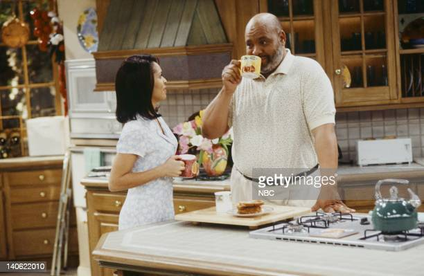 AIR THE Hare Today Episode 18 Pictured Karyn Parsons as Hilary Banks James Avery as Philip Banks Photo by Chris Haston/NBCU Photo Bank