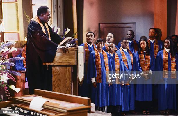 AIR THE 'Hare Today' Episode 18 Pictured Richard Roundtree as Rev Gordon Sims Alfonso Ribeiro as Carlton Banks Tatyana Ali as Ashley Banks Photo by...
