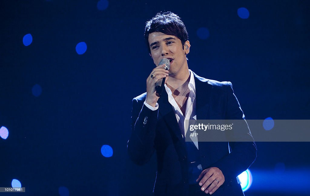 Harel Skaat from Israel performs their song 'Milim' on May 27, 2010 in Baerum, near Oslo in the second semi-final of the Eurovision Song Contest. The 55th Eurovision Song Contest final will take place on May 29 at the Telenor Arena.