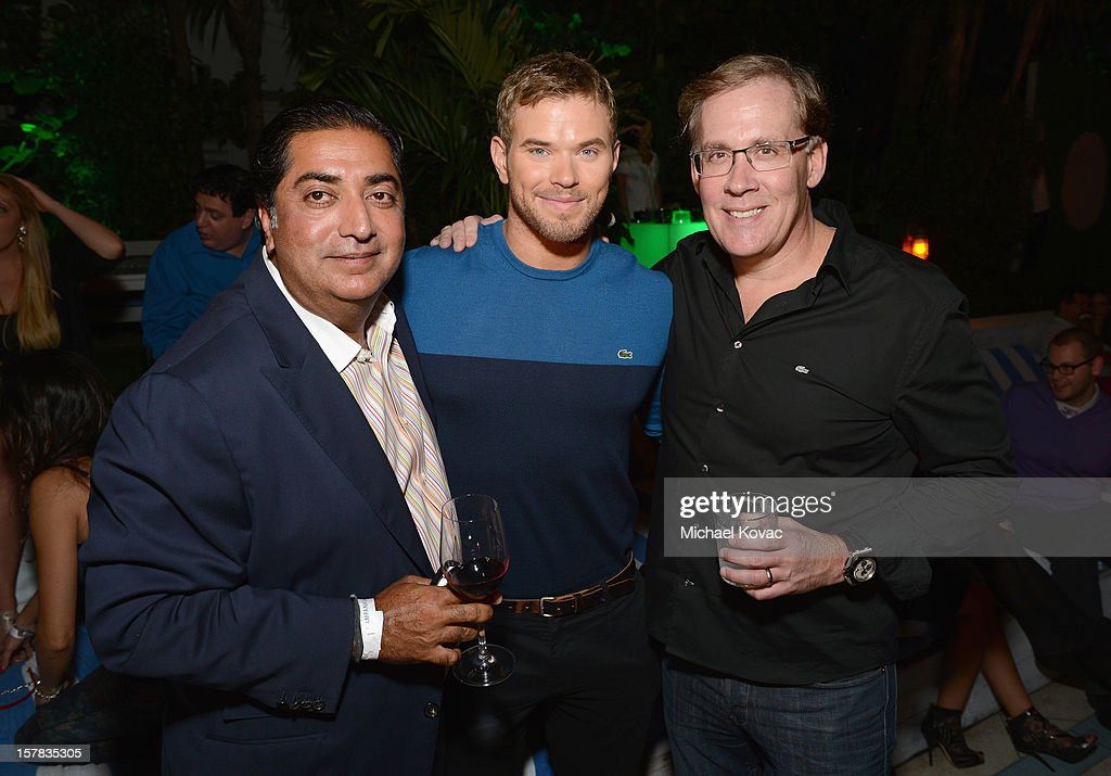 Haresh Tharani, actor Kellan Lutz and CEO of Lacoste USA Steve Birkhold attend a LACOSTE + CAMPANAS Celebration during Art Basel Miami Beach at Soho Beach House on December 6, 2012 in Miami Beach, Florida.
