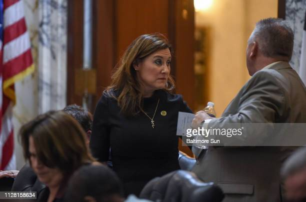 Harford County Del Mary Ann Lisanti speaks with Del Steve Johnson as she stands to leave the House Chamber on Thursday Feb 28 2019 The Maryland House...