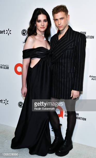Hari Nef and Tommy Dorfman attend the 28th Annual Elton John AIDS Foundation Academy Awards Viewing Party Sponsored By IMDb And Neuro Drinks on...