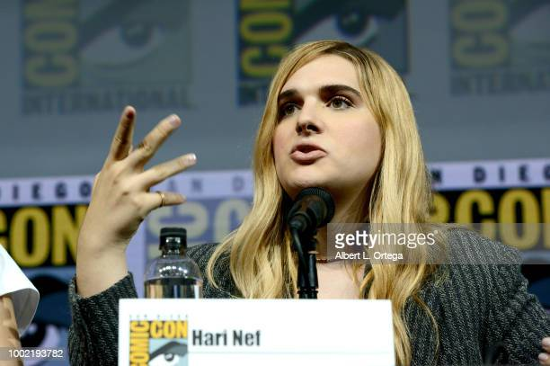 Hari Nef speaks onstage during the 'Assassination Nation' panel with the cast and the Russo Brothers during ComicCon International 2018 at San Diego...