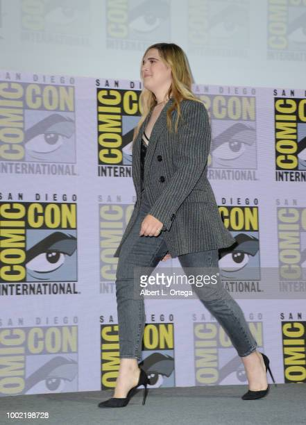 Hari Nef walks onstage during the 'Assassination Nation' panel with the cast and the Russo Brothers during ComicCon International 2018 at San Diego...