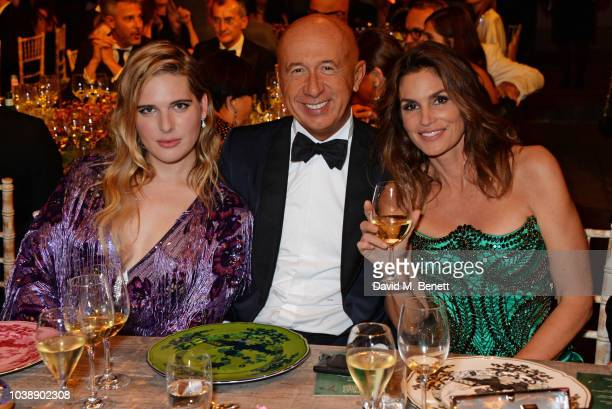 Hari Nef wearing Gucci Marco Bizzarri and Cindy Crawford wearing Versace attend The Green Carpet Fashion Awards Italia 2018 after party at Gallerie...