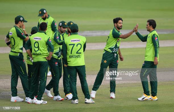 Haris Rauf of Pakistan celebrates with teammates after taking the wicket of Eoin Morgan of England during the 2nd Vitality International Twenty20...