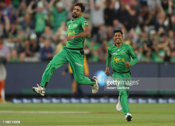 Haris Rauf of the Stars celebrates his hat-trick with the wicket of Daniel Sams of the Sydney Thunder during the Big Bash League match between the...