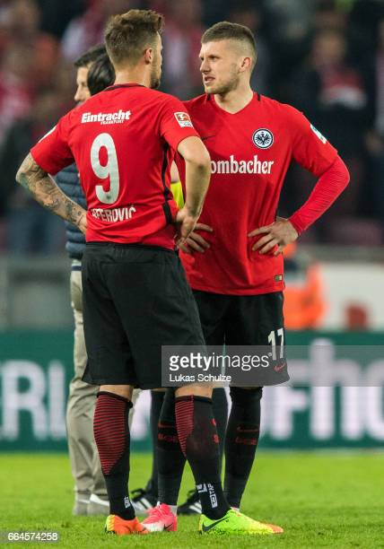 Haris Seferovic and Ante Rebic of Frankfurt react after loosing the Bundesliga match between 1 FC Koeln and Eintracht Frankfurt at...