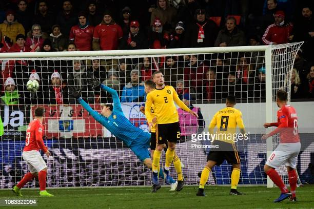 Haris Seferovic forward of Switzerland scores 32 during the UEFA Nations League Group Stage League A Group 2 match between Switzerland and Belgium in...