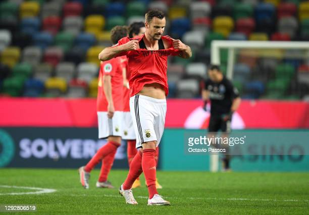 Haris Seferovic of Benfica looks dejected following the Portuguese Super Cup final between FC Porto and SL Benfica at Estadio Municipal de Aveiro on...