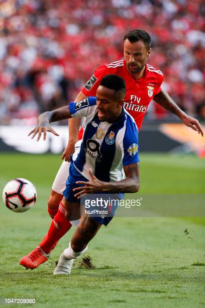 Haris Seferovic of Benfica vies for the ball with Eder Militao of Porto during the Portuguese League football match between SL Benfica and FC Porto...