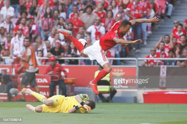 Haris Seferovic of Benfica vies for the ball with Iker Casillas of Porto during the Portuguese League football match between SL Benfica and FC Porto...