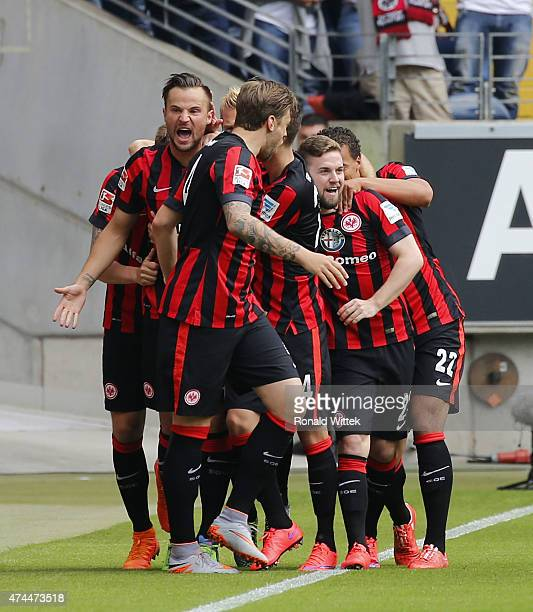 Haris Seferovic of Frankfurt celebrates after scoring his team's first goal with his teammates during the Bundesliga match between Eintracht...