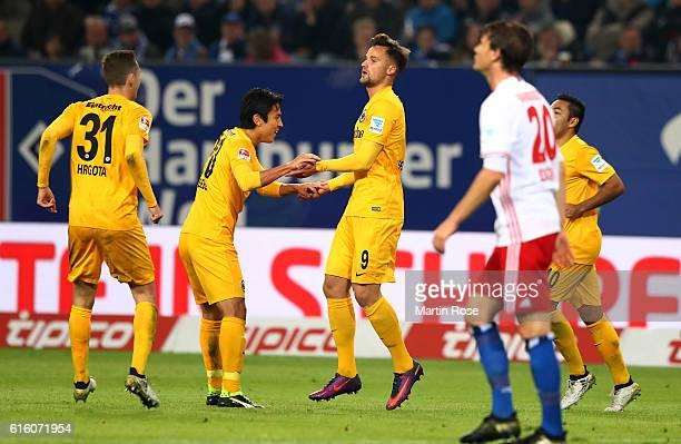 Haris Seferovic of Frankfurt celebrates after scoring the 3rd goal during the Bundesliga match between Hamburger SV and Eintracht Frankfurt at...