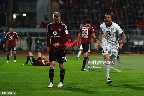 Haris Seferovic of Frankfurt celebrates his team's first goal during the Bundesliga Playoff Leg 2 between 1 FC Nuernberg and Eintracht Frankfurt at...