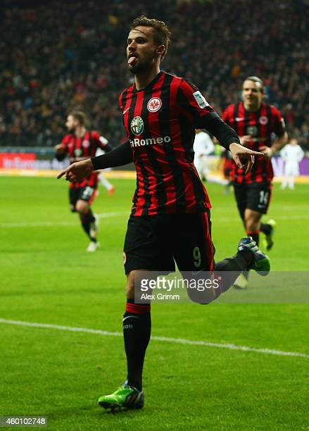 Haris Seferovic of Frankfurt celebrates his team's second goal during the Bundesliga match between Eintracht Frankfurt and SV Werder Bremen at...