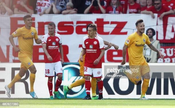Haris Seferovic of Frankfurt celebrates his team's second goal during the Bundesliga match between 1 FSV Mainz 05 and Eintracht Frankfurt at Opel...