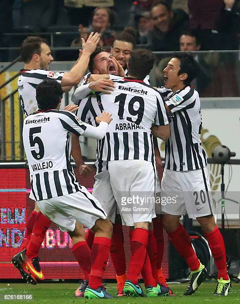 Haris Seferovic of Frankfurt celebrates his team's second goal with team mates during the Bundesliga match between Eintracht Frankfurt and Borussia...