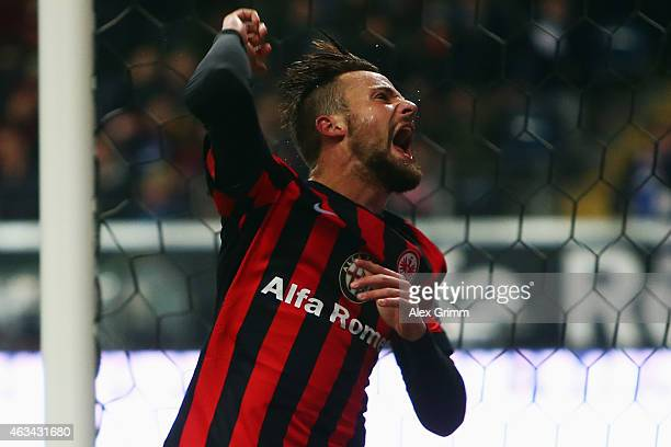 Haris Seferovic of Frankfurt reacts after missing a chance to score during the Bundesliga match between Eintracht Frankfurt and FC Schalke 04 at...