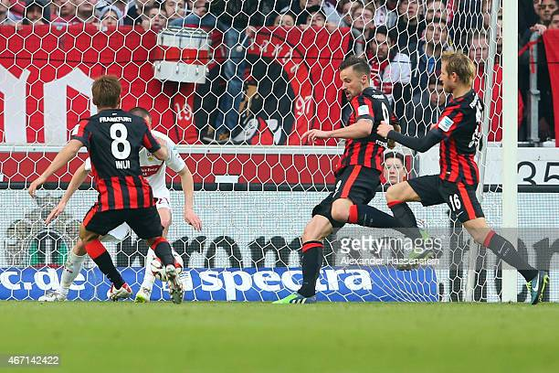 Haris Seferovic of Frankfurt scores the opening goal during the Bundesliga match between VfB Stuttgart and Eintracht Frankfurt at MercedesBenz Arena...