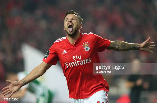 Haris Seferovic of SL Benfica celebrates after scoring a goal during the Liga NOS match between SL Benfica and Rio Ave FC at Estadio da Luz on...