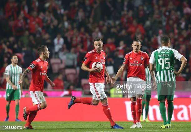 Haris Seferovic of SL Benfica celebrates after scoring a goal during the Liga NOS match between SL Benfica and Rio Ave FC at Estadio da Luz on...