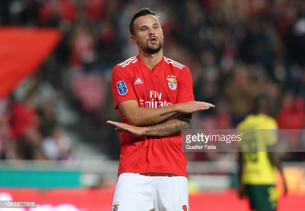 Haris Seferovic of SL Benfica celebrates after scoring the opening goal during the Portuguese League Cup match between SL Benfica and Pacos de...