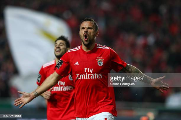 Haris Seferovic of SL Benfica celebrates scoring SL Benfica second goal during the Liga NOS match between SL Benfica and CD Nacional at Estadio da...