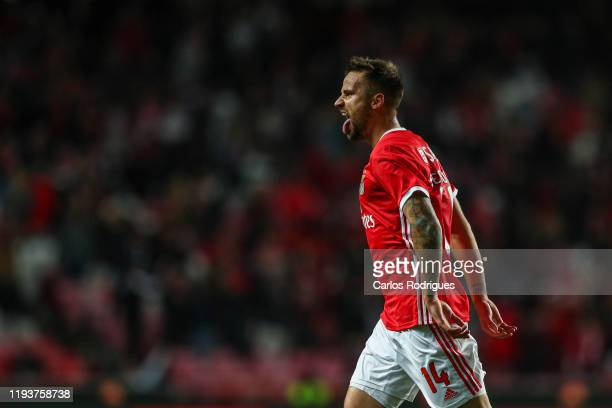 Haris Seferovic of SL Benfica celebrates scoring SL Benfica third goal during the match between SL Benfica and Rio Ave FC for the Taca de Portugal at...