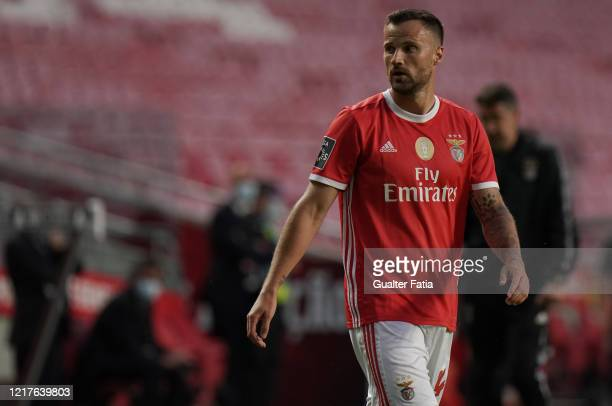 Haris Seferovic of SL Benfica during the Liga NOS match between SL Benfica and CD Tondela at Estadio da Luz on June 4 2020 in Lisbon Portugal