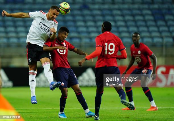 Haris Seferovic of SL Benfica with Reinildo Mandava of LOSC Lille in action during the Pre-Season Friendly match between SL Benfica and Lille at...