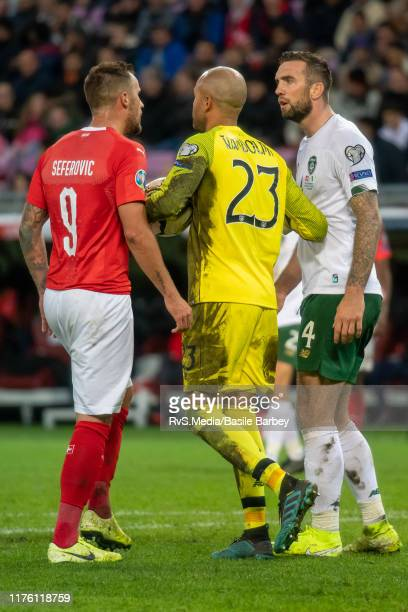 Haris Seferovic of Switzerland argues with Shane Duffy of Republic of Ireland during the UEFA Euro 2020 qualifier between Switzerland and Republic of...