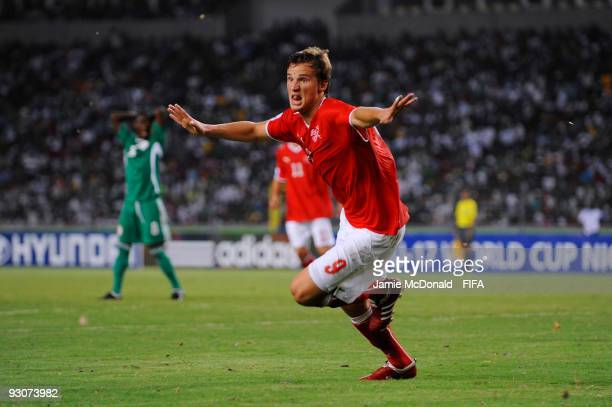 Haris Seferovic of Switzerland celebrates scoring the winning goal during the FIFA U17 World Cup Final match between Switzerland and Nigeria at the...