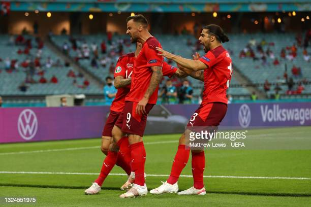 Haris Seferovic of Switzerland celebrates with teammates after scoring their team's first goal during the UEFA Euro 2020 Championship Group A match...