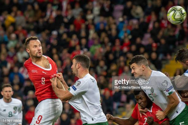 Haris Seferovic of Switzerland heads the ball during the UEFA Euro 2020 qualifier between Switzerland and Republic of Ireland on October 15 2019 in...