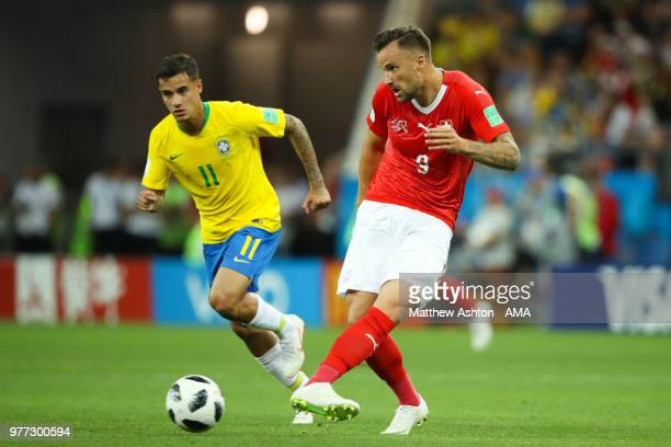 Haris Seferovic of Switzerland in action during the 2018 FIFA World Cup Russia group E match between Brazil and Switzerland at Rostov Arena on June...