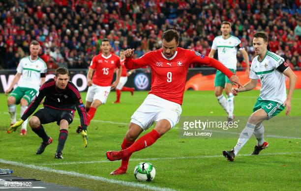 Haris Seferovic of Switzerland in action during the FIFA 2018 World Cup Qualifier PlayOff Second Leg between Switzerland and Northern Ireland at St...