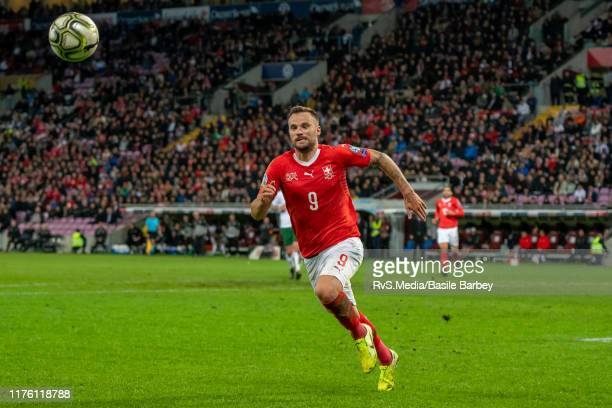 Haris Seferovic of Switzerland in action during the UEFA Euro 2020 qualifier between Switzerland and Republic of Ireland on October 15 2019 in Geneva...