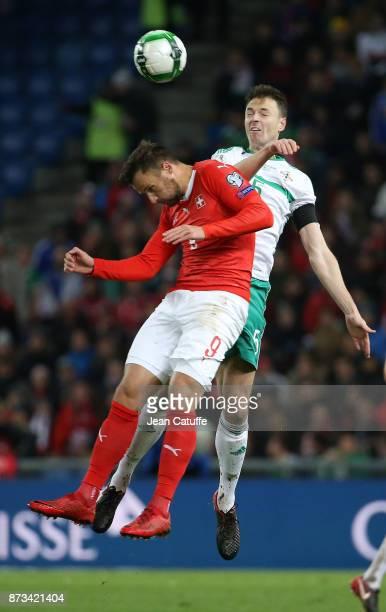 Haris Seferovic of Switzerland Jonny Evans of Northern Ireland during the FIFA 2018 World Cup Qualifier PlayOff Second Leg between Switzerland and...