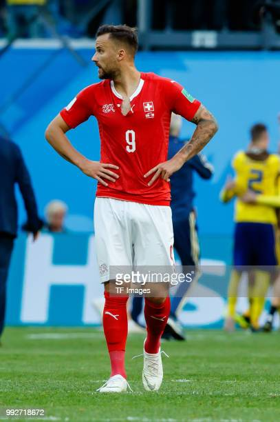 Haris Seferovic of Switzerland looks dejected after the 2018 FIFA World Cup Russia Round of 16 match between Sweden and Switzerland at Saint...