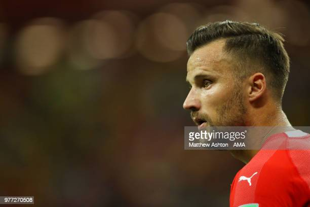 Haris Seferovic of Switzerland looks on during the 2018 FIFA World Cup Russia group E match between Brazil and Switzerland at Rostov Arena on June 17...