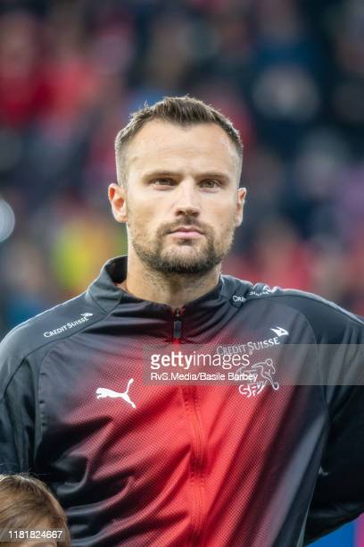 Haris Seferovic of Switzerland looks on during the Swiss national anthem prior to the UEFA Euro 2020 qualifier between Switzerland and Republic of...