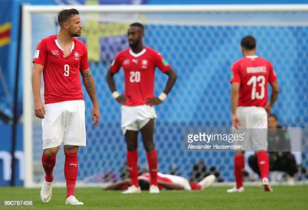 Haris Seferovic of Switzerland shows his dejection following the 2018 FIFA World Cup Russia Round of 16 match between Sweden and Switzerland at Saint...