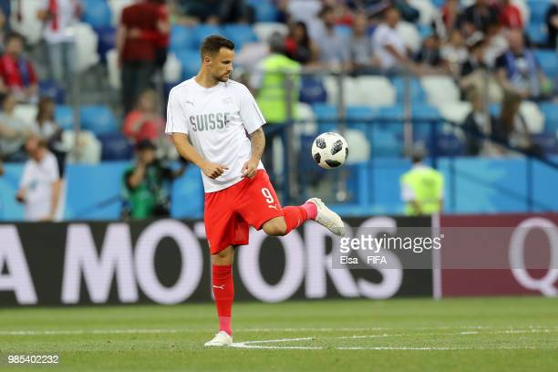 Haris Seferovic of Switzerland warms up prior to the 2018 FIFA World Cup Russia group E match between Switzerland and Costa Rica at Nizhny Novgorod...