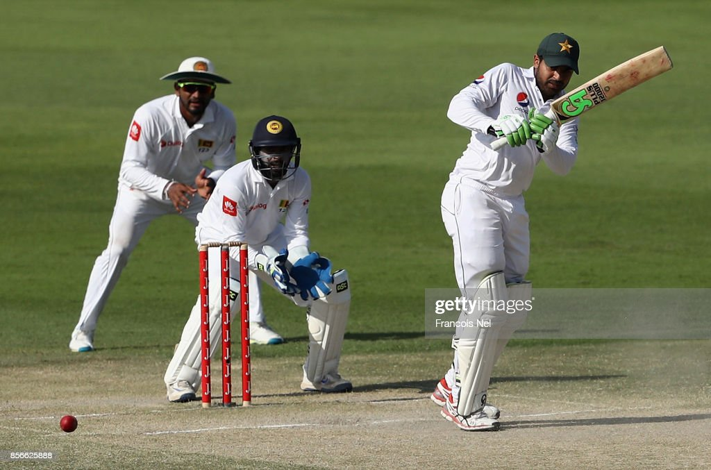Haris Sohail of Pakistan bats during Day Five of the First Test between Pakistan and Sri Lanka at Sheikh Zayed stadium on October 2, 2017 in Abu Dhabi, United Arab Emirates.